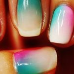 Gradient Ombre Nail Arts With Sheer Pink + Sheer Blue Green Pigment And Glue Gel