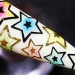 Colorful Foil Stars Nail Art