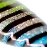 Gradient Glitter Stripe Stencil Nail Art