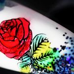 Color Glittering Rose Stamping Nail Art