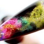 Glittering Smoky Rainbow Jelly WaterColor Nail Art
